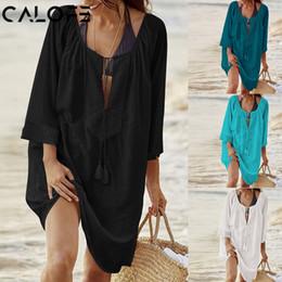 $enCountryForm.capitalKeyWord Australia - 2018 Women Bikini Cover up Swimsuit White Beach Tunic Floral Lace Sundress Swim Dress Loose Bride Swimwear Cover Beach Top dress