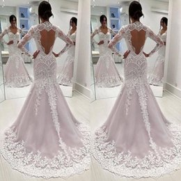 Trumpet Lace Sweetheart Neckline Wedding Dress Australia - Stunning Lace Long Sleeve Mermaid Open Back Wedding Dress Sweetheart Neckline Sweep Train Country Castle Bridal Gown With Appliques