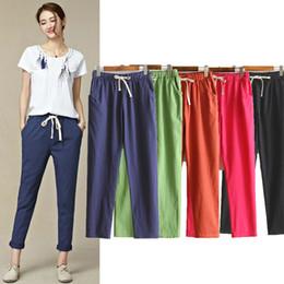 $enCountryForm.capitalKeyWord Australia - Spring summer Womens Harem Pants Cotton Linen Solid Elastic Waist Candy Colors Harem Trousers Soft High Quality For Female Ladys