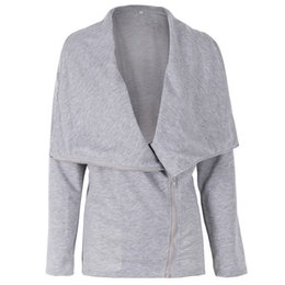 $enCountryForm.capitalKeyWord Australia - Women Solid Thin Turn-down Collar Coat Diagonal Zipper Design Autumn Winter Casual Long Sleeve Jacket Coats