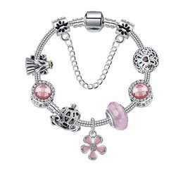 $enCountryForm.capitalKeyWord Australia - 925 Sterling Silver Murano Glass Bead Charm Pink Crystal Spacer Five Petals Flower Pendant Beads Fit Women Pandora Bracelet Diy Jewelry