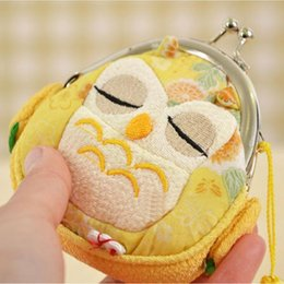 Cloth hobo bags online shopping - Wholetide Owl National Wind Handmade Cloth Art Buckles Zero Wallet Women Lady Wallets students girl Wallet Children Coin Purse Bag
