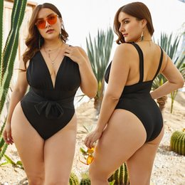 plus size waist trimmers UK - womens designer Black sexy deep V jumpsuit large size waist trimming Plus size sexy swimsuit ZWFL
