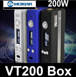 Discount vt mini 100% Authentic HCIGAR VT200 TC Box Mod with DNA 200 chip VT 200 Mods Temp Control vs sx mini mi G class stick v8 qc dual