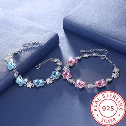 $enCountryForm.capitalKeyWord Australia - Women's Row 4 Butterfly Pink and Sky Blue Crystal 100% 925 Sterling Silver Bracelet Length Adjustable 17+4cm Gross Weight 11.8g