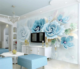 cheap moulds Australia - Discount For Cheap Wallpaper New embossed flowers blue Living Room Bedroom Background Wall Decoration Mural Wall paper