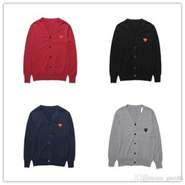 Wholesale Men Women Designer T Shirts CDG Embroidery Love Cotton V Collar Cardigan Sweater OFF Red Heart Wear CommeS Des Warm White GARCONS Shirts
