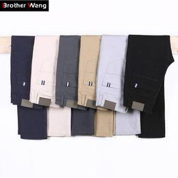 Men Grey Khaki Trousers Australia - 6 Color Casual Pants Men Spring New Business Fashion Leisure Elastic Straigh Trousers Male Brand Gray White Khaki Navy Q190518