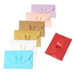 $enCountryForm.capitalKeyWord Australia - 100pcs Mini Colored Butterfly Buckle Paper Envelopes DIY Retro Blank Invitation Envelope for Wedding Party Greeting Card