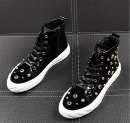 $enCountryForm.capitalKeyWord Australia - New arrival Men luxury rhinestone metal plate platform high tops Casual Flats Shoes Man punk Loafers board shoes zapatos hombre BMM889