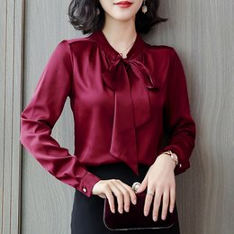 women satin blouse Australia - Woman OL Blouse French Elegance Style Silk Blouse Shirts Plus Size 3XL Bow Lace Up Long Sleeve Shirts Office Work Wear Blusas SH190831