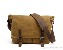 $enCountryForm.capitalKeyWord Australia - Vintage shoulder men casual messenger bag canvas laptop crossbody bags waterproof mesenger bags with leather stra