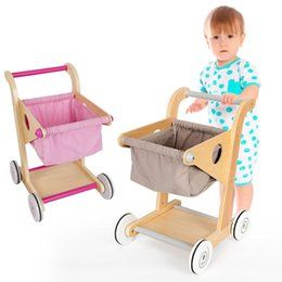 shop wood Canada - Baby Pretend Toy Wood Supermarket Hand Trolley Mini Shopping Cart Desktop Decoration Storage Toy Dollhouse Furniture Accessories