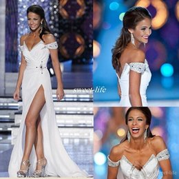 $enCountryForm.capitalKeyWord Australia - White 2019 Pageant Evening Gowns Off the Shoulder White Full Length Beads Backless Sexy High Split Cheap Long Prom Party Dress