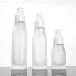$enCountryForm.capitalKeyWord Australia - 300pcs 40ml 100ml 120ml square shape frostdd glass bottle lotion emulsion serum spray bottle 20 30 50g jars with white lids