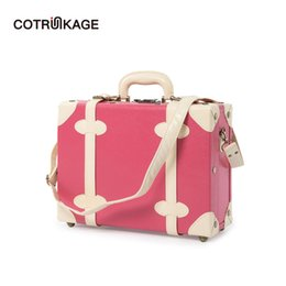 """Luggage Hand Bags Australia - COTRUNKAGE Women 16"""" Pu Leather Cabin Train Case Vintage Carry On Suitcase Bag Travel Hand Carry Pink Luggage Trunk for Girls"""