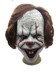 silicone latex face mask Australia - Silicone Movie Stephen King Joker Mask Full Face Horror Clown Latex Mask Halloween masks Party Horrible Cosplay Prop Mask YD0406