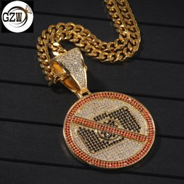 $enCountryForm.capitalKeyWord Australia - New Luxury Designer Gold Bling Cute No Photography Sign Pendant Mens Chain Necklace CZ Cubic Zirconia Hip Hop Rapper Jewelry Gifts for Men