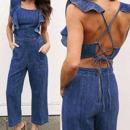 Bandage Jumpsuits Australia - New Spring Personality Denim Jeans Backless Bandage Jumpsuit Casual Women Sleeveless Ruffle Rompers