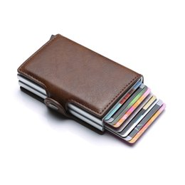 block brown Australia - Card Bag Automatic Coin Purse Men Wallet Back Pocket ID Cardholder Blocking Wallet Retro Coin Purse Card Pocket