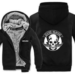 Dog Zipper Australia - Metal Gear Solid Winter Warm Fashion Man Zipper Hoodie Thick Fleece Liner Men Hoodies Game Dog Skull Fox Logo Sweatshirt HS-039