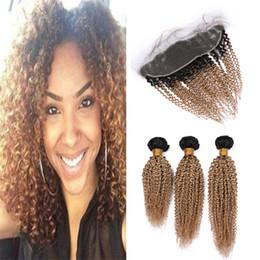 $enCountryForm.capitalKeyWord Australia - #1B 27 Honey Blonde Ombre Virgin Malaysian Curly Hair Bundles with Frontal Closure Dark Roots Light Brown Kinky Curly Human Hair Frontal