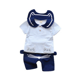 13234f6cba2e5 2019 New Hot Summer Baby Girls Clothing Sets Children Cartoon Cotton Stripe  Lapel Navy T Shirt Shorts 2Pcs Infant Clothes Suits