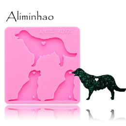 DY0126 Shiny dog family mama baby Shape Silicone Molds For DIY key ring epoxy resin Mold Craft custom