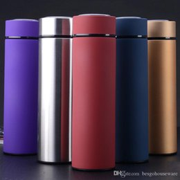 stainless steel tea thermos NZ - Stainless Steel Thermal Water Bottle Vacuum Insulated Flask 450ml Insulate Thermos Tea Mug With Strainer Thermo Mug Coffee Cup BC BH1385