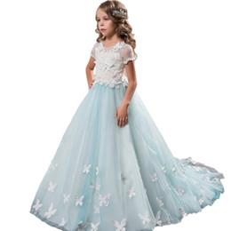 52c46971bd Vestido de niña de las flores Vestido de fiesta de Brithday Vestidos de  chicas elegantes Mint Vestidos azules 0-14 años