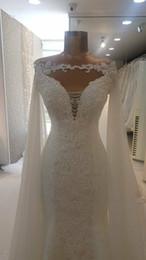 $enCountryForm.capitalKeyWord Australia - White Wedding Cloak Cape 2019 Chiffon Applique Cathedral Length Ivory Bridal Wraps Jackets Bolero Shawls Wedding Accessory