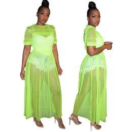 bd63fd9d8c See Through Mesh Sexy Maxi Dress Women Clothes 2019 High Waist Neon Green  Dress O Neck Plus Size 2XL 3XL Party Club Long Dresses
