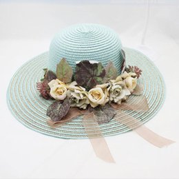 large brim hats for women Australia - Summer Fashion Large Brim Floppy Sun Hat For Women Rose Flower Straw Beach Visor Hats Female Foldable Sunhat