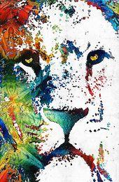 Bunt-Löwe-Kunst Artwork Ungerahmt moderne Leinwand Wandkunst für Heim und Büro Dekoration, Ölgemälde, Tiermalerei, Rahmenmalerei im Angebot