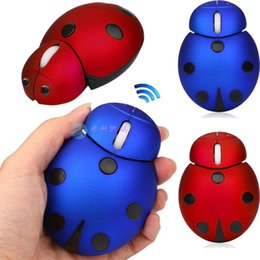 mini computer kid Canada - Cute Cartoon Ladybug 2.4Ghz Wireless Mouse USB Beetle mouse 3000 DPI Laser Mini 3D animal Mice Computer Mause For Kids Laptops Notebook PC