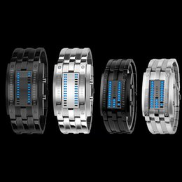 $enCountryForm.capitalKeyWord NZ - 2017 Fashion Creative Luxury Lovers' Wristwatch Men Women Steel blue Binary Luminous LED Electronic Sport Watches