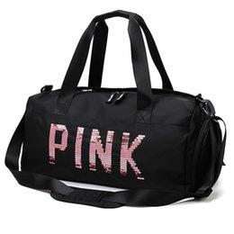 2019 nova lente lentejuelas letras rosas gimnasio Bolsa de fitness hombro bandoleira mujer bolsa de mano Bolsa de viaje Bolsa de lon em Promoção