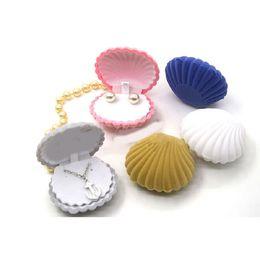 Jewery Organizer Box Rings Earrings Storage Small Gift Box DIY craft Display Case Wedding etc Velvet Shell Shape for Necklace Bracelet etc