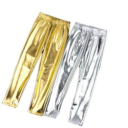 $enCountryForm.capitalKeyWord Australia - Kids Girl Leggings Elastic 2-12Y Pants Skinny Gold kids Metal Color Fuax Leather Baby Pents Leggings for Performances