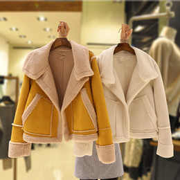 Wholesale fur lined leather jacket women for sale - Group buy Deerskin Faux Rabbit Fur Teddy Coat Parkas Women Sheepskin Womens Winter Suede Leather Female Bomber Jacket Basic Jackets SH190930