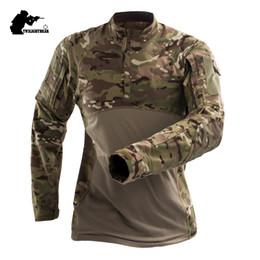 Venta al por mayor de Camuflaje para hombre camiseta táctica de manga larga de algodón transpirable combate rana camiseta hombres camisas de entrenamiento S-3XL