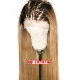 Cheap full ombre wigs online shopping - T1B Virgin human hair silky straight cheap ombre hair Full Lace Wig and lace front wigs