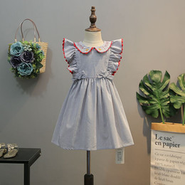 american boutique clothing Australia - Baby Girl Clothing Summer Stripped Print dress Flying Sleeveless Design Pet Pan Collar Kids Boutique Clothes Dress