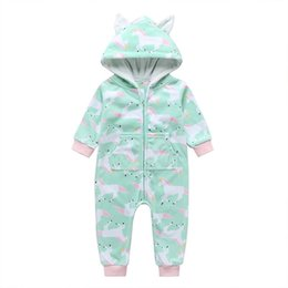hooded jumpsuit green Australia - Newborn Baby Unicorn Print Hooded Jumpsuits Fall 2019 Kids Boutique Clothing Infant Toddlers Cotton Long Sleeves Bodysuits Crawl Rompers