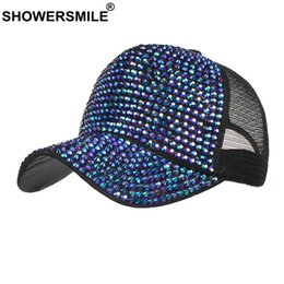 Discount bling hip hop caps - SHOWERSMILE Rhinestone Baseball Hats for Women Blue Bling Hat Diamond Female Summer Ladies Trucker Hat Mesh Cap Snapback