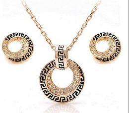 $enCountryForm.capitalKeyWord Australia - Jewelry Set Earrings Necklace WholesaleRose Gold Color Retro Rome Round Design Austrian Rhinestones
