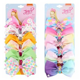 Wholesale bb cartoon online – oversize jojo siwa girls hair clips Mermaid hair bows baby BB clips cartoon Jojo Barrettes color set bows kids barrettes hair accessories1set pc