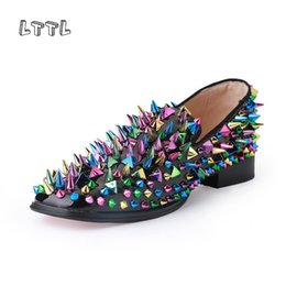 lttl shoes 2020 - LTTL Dandelion Spikes Flat Black Patent Leather brandMen Shoes Men Colorful Rivet Black Loafers Runway Prom Footwear che