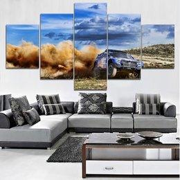pink decorative paintings Australia - Modern HD Printed Wall Artwork Canvas Modular Pictures 5 Pieces Extreme Sports Painting Home Decorative Dakar Rally Car Poster