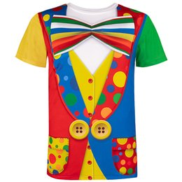 Novelty Tees Australia - Men's Clown Costume Funny 3d T-shirt Themed Party Carnival Birthday Novelty Tee Top For Adult Man Halloween Cosplay Circus Y19060601